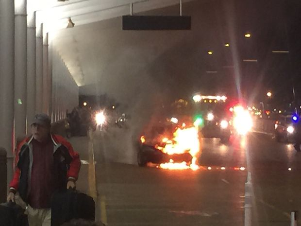 Car fire at Midway airport caused curbside check in for Southwest Airlines to be halted Tuesday night.