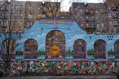 A mural decorates a wall at the dead end of Beekman Place in Prospect-Lefferts Gardens.