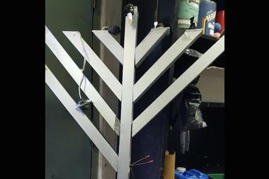 This menorah and one other were tampered with in Brooklyn during Hanukkah this week, the rabbi responsible for the religious items said.