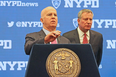 Police Commissioner James O'Neill and Mayor Bill de Blasio talked about New Year's Eve security on Dec. 29, 2016.