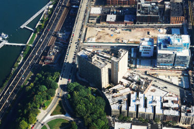 Aerial view of Manhattanville campus, where Columbia will expand its campus