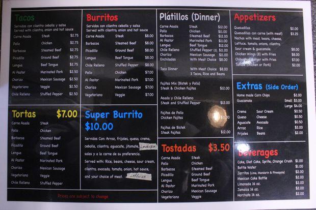 The menu for Simon's Tacos, 4263 N. Milwaukee Ave.