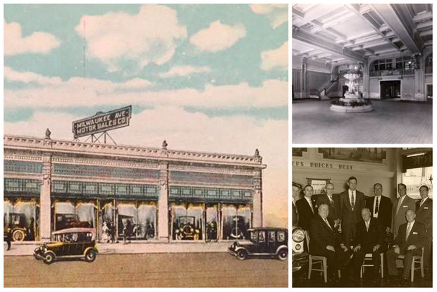 (from left) The northern buildings on the Megamall site were once home to auto shops. Inside the Charles Lange Brothers Buick Dealership, formerly located at about 2627 N. Milwaukee Ave., which was considered the