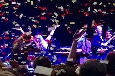 Patti Smith showered in birthday confetti.