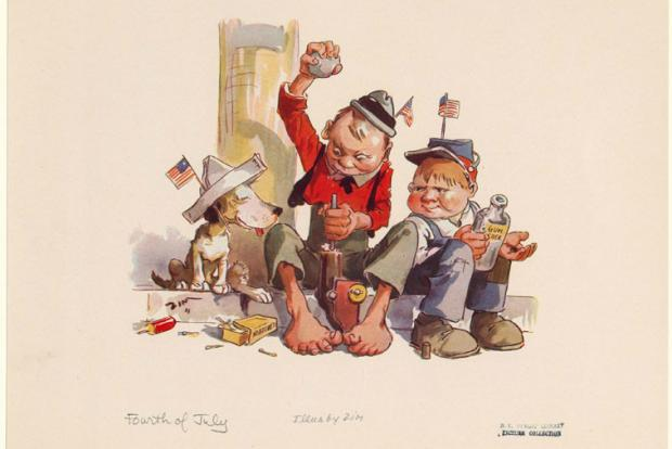 An illustration of boys celebrating the Fourth of July by stuffing gunpowder into a toy cannon.