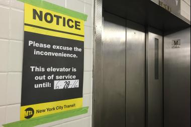 One of the elevators was under repair Tuesday morning at the R train station at Clinton and Montague streets.