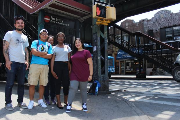 A group of high schoolers are hoping to transform the traffic-clogged, blighted, trash-littered Broadway, one of Bushwick's main thoroughfares, which runs under the above-ground J, Z train tracks.