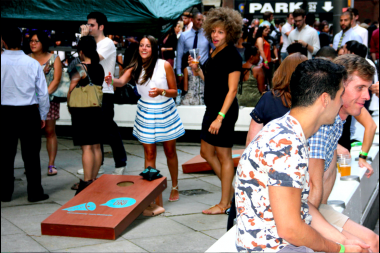 Young residents of  Lower Manhattan enjoy summer events on the streets of FiDi.