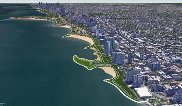 A rendering of Edgewater Beachwalk Chicago's proposal for an overhaul of the lakefront trail between Hollywood Avenue and Devon Avenue.