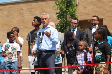 While at Kennicott Park in Bronzeville, Mayor Rahm Emanuel applauded a tentative pact on CPS funding in Springfield.