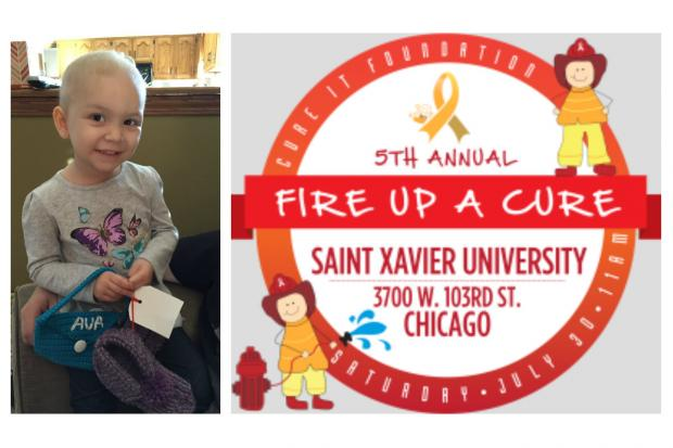 Ava Perakis, 3, is battling Acute Lymphoblastic Leukemia. She is one of the children who Dr. Jason Canner is hoping to cure through his foundation that hosts the Fire Up A Cure fundraiser at Saint Xavier University.