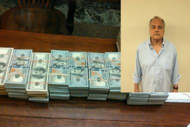 """Arthur Rossi,  66, a resident of West 74th Street, was indicted as a """"Master Agent"""" in a online sports gambling ring that involved over a billion dollars, the Brooklyn DA announced on June 30, 2016. The stacks of cash were recovered from a safety deposit box in Rossi's name."""