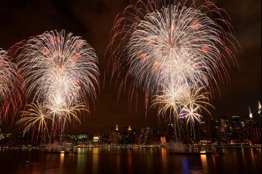 Fireworks light up the night sky during a Macy's Fourth of July Fireworks show.