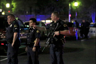 A scene from a shooting in Dallas that killed five police officers on July 7, 2016.