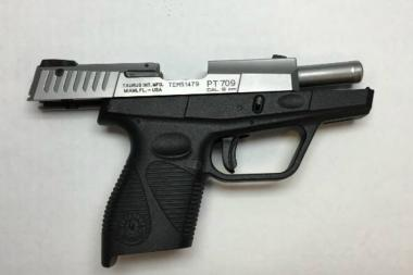A man brandishing this 9 mm handgun was shot by police at Rogers and Lefferts avenues, the NYPD said.
