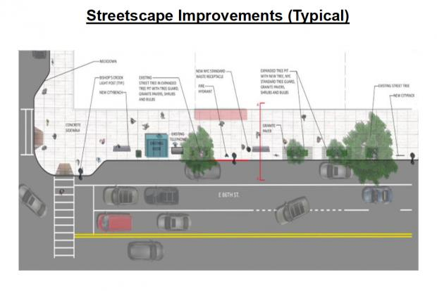 A number of improvements, including bus stop bump-out and new tree pits are planned for East 86th Street, the DDC said.