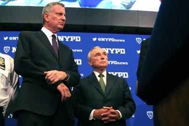 Mayor Bill de Blasio and NYPD Commissioner Bill Bratton at a press conference at One Police Plaza on Friday, July 8, 2016.