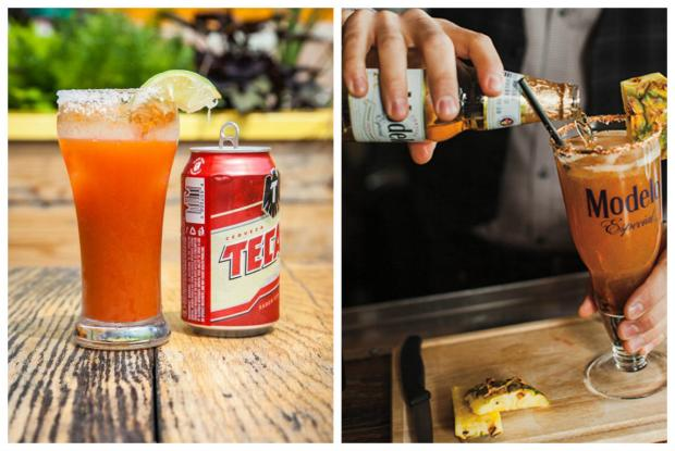 Two Micheladas made with Tecate and Modelo beer.