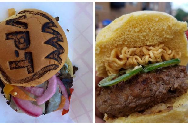 "VPT's ""fire cracker"" and Square Bar & Grill's sesame ginger ramen were the top burgers at the fest."