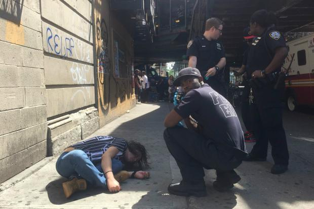 A person was slumped over on the sidewalk after taking K2 in Bedford-Stuyvesant, sources said.