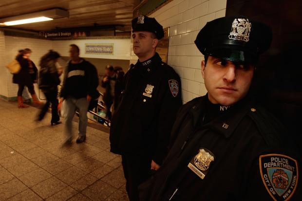 NYPD officers in the subway. The district manager of Community Board 6 in Brooklyn is asking the city's Independent Budget Office to study how much the city spends prosecuting fare beaters.