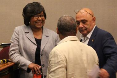 Ald. Michelle Harris (left) insists it's at her discretion whether to call another vote on the referendum.