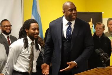 Glennell Fairley introduced Magic Johnson at an event promoting One Summer Chicago in February 2015.