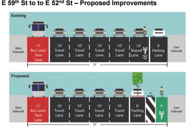 Second Avenue between East 58th and East 52nd streets will get a dedicated bike lane, according to the DOT.