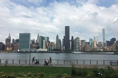 The view from the Long Island City waterfront at Gantry Plaza State Park.