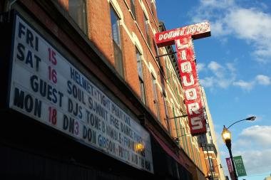 Upcoming shows advertised on Double Door's sign.