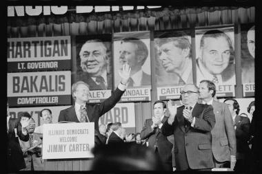 Mayor Richard J. Daley and former President Jimmy Carter campaign together.