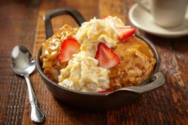 Made with salted caramel gelato and coated in Cinnamon Toast Crunch, the dessert is topped off with caramel sauce, whipped cream and fresh strawberries.  It costs $9.