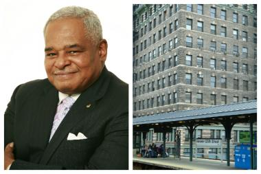 Eugene Giscombe, who owned a well-known real estate firm in Harlem for over 30 years, died Sunday. Right is a picture of his firm's Harlem headquarters, the Lee Building at Park Avenue and 125th Street.