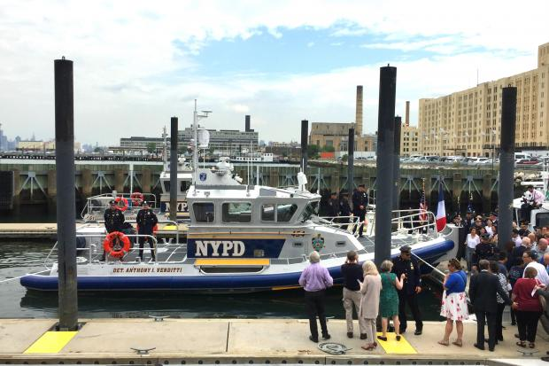 An NYPD habor unit vessel was named after fallen detective Anthony Venditti Friday morning at Brooklyn Army Terminal in Sunset Park.