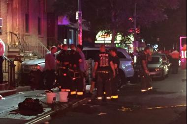 The scene of a deadly collision on Bedford Avenue near North Ninth Street in WIlliamsburg. Police said Nicholas Batka, 28, ran his SUV onto a Williamsburgsidewalk, killing one pedestrian.