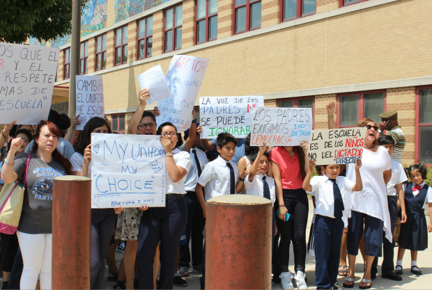Pilsen parents are protesting new rules at Orozco Elementaryafter the school's principal pulled the Mexican National Anthem and instituted other cultural changes at the school.
