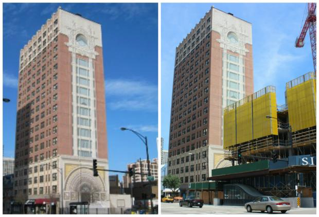 A recognizable mural by Richard Haas (left) is being covered up a new 35-story tower (right).