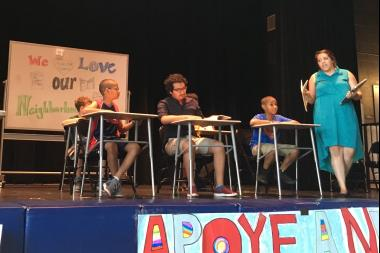 Students from Brighton Park area schools perform a play on what its like to go to school during budget cuts.