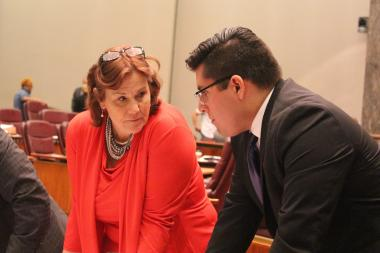 Aldermen Susan Sadlowski Garza and Carlos Ramirez-Rosa discuss their proposals during Wednesday's City Council meeting.