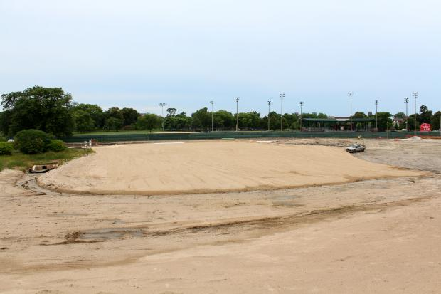 The sand has been put in place at the new Humboldt Park Beach.