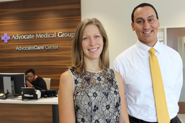 Dr. Tiffany Groen and Jonathan Hoffsuemmer are among the 15 employees of the new AdvocateCare Center in Beverly. The facility is designed specifically for seniors with chronic medical conditions and replaces a Borders bookstore.