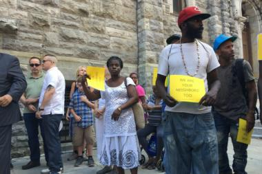 Community members, including the homeless, came out to vocalize their opinions on a proposed shelter in East Harlem.