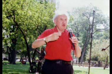 Studs Terkel speaks during the Bughouse Square Debate in 1997. During this year's debate, attendees can access Terkel audio as they participate in the annual celebration of free speech in Washington Square Park.