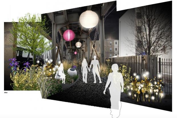 The Lakeview Area Master Plan envisions a walking path beneath the Brown Line from Southport to Paulina. The Low-Line Plaza is a first step.