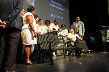 Toni Morrison, along with members of the Toni Morrison Society, unveiled a bench that will be at the Schomburg Center to mark the center as an important site of African American history.