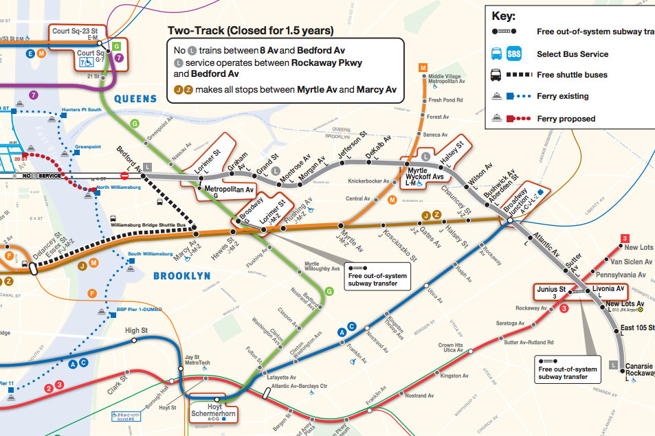 The L Train Shutdown Here S How To Commute Between Brooklyn And