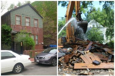 The home at 322 W. Willow St. was torn down Monday despite neighbors protests to protect the 127-year-old building