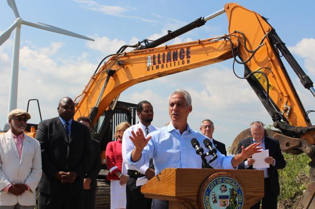 Backed by state Sen. Donne Trotter, state Rep. Elgie Sims Jr. and Ald. Anthony Beale, Mayor Rahm Emanuel prepares to help break ground on a new Whole Foods distribution center in Pullman.