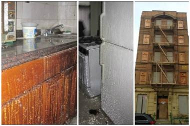 Left to right, two pictures of the apartment adjacent to the one the family was living, which became encased in ice after a pipe burst during last year's winter and a picture of the apartment building on 21 E. 115th St. in East Harlem.
