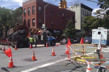 Con-Ed crews were scrambling to restore power near Decatur Street and Ralph Avenue Tuesday afternoon.